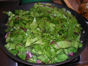 Beet Green Ribbons before shrinkage