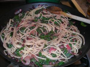 Spaghetti with Beet Greens